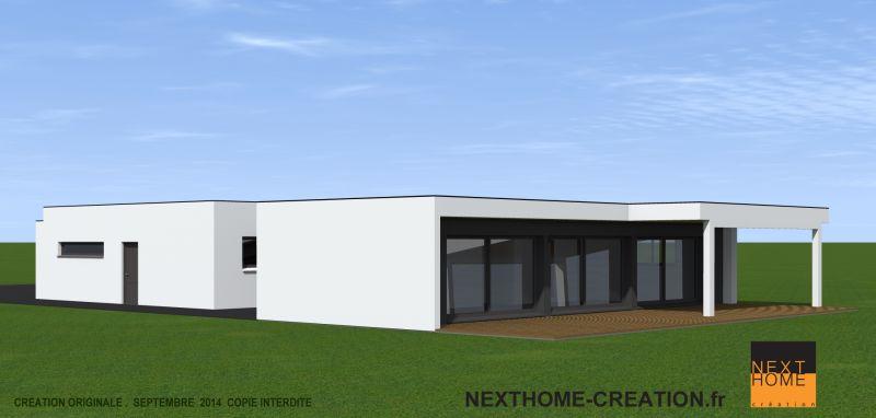 Maison plain pied avec toit plat et garage accol nexthome - Maison cubique plain pied ...