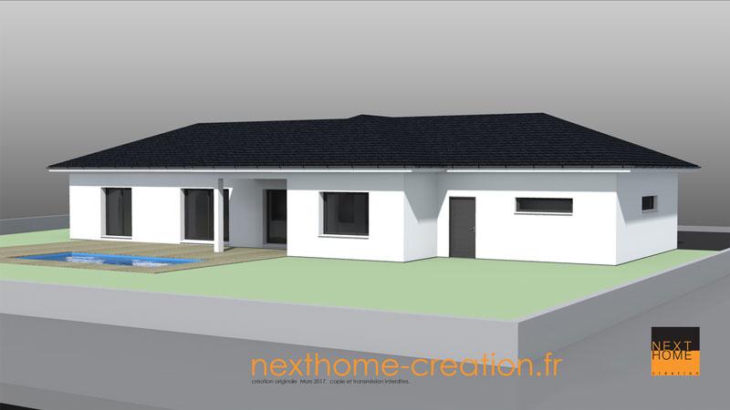 Maison plain pied toit 4 pans moderne nexthome cr ation for Toit de maison en tole