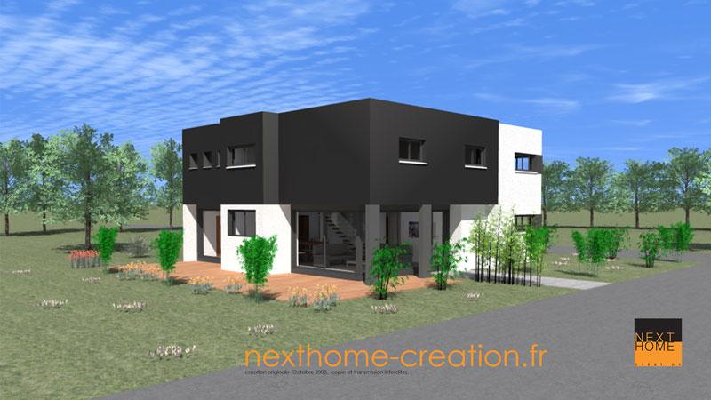 Maison moderne toit plat nexthome cr ation for Constructeur maison contemporaine haut rhin