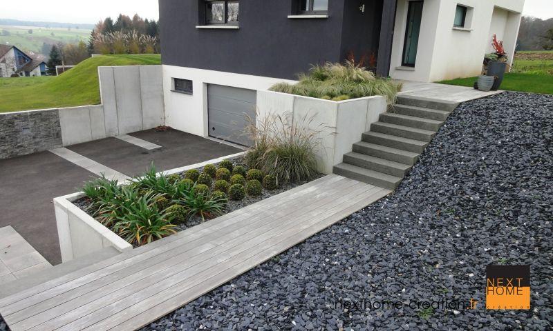 Maison contemporaine toit plat et garage sous sol for Prix construction garage sous sol