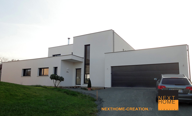 Maison architecte toit plat garage accole nexthome for Toit garage plat