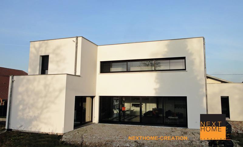 Maison architecte toit plat garage accole nexthome cr ation - Jardin terrasse toit mulhouse ...
