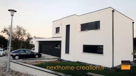 Maison contemporaine toit plat et garage accol haut for Garage volkswagen haut rhin