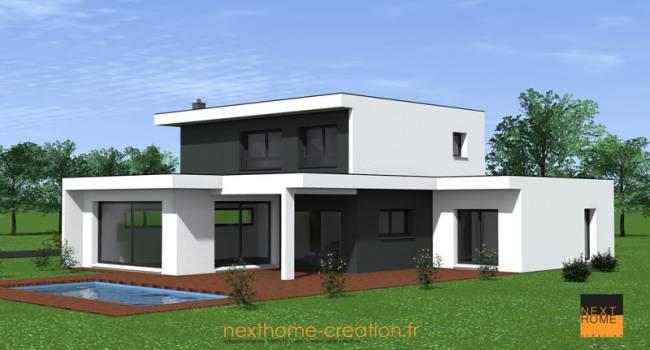 Nexthome cr ation construction maison toit plat haut rhin constructeur maison 68 nexthome for Maison toit plat en l