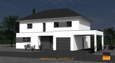 Maison 4 pans contemporaine nexthome cr ation for Porche de maison en bois