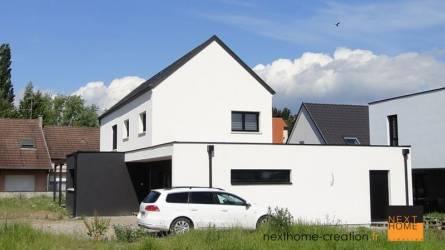 Maison contemporaine 2 pans et toit plat - Nexthome Création