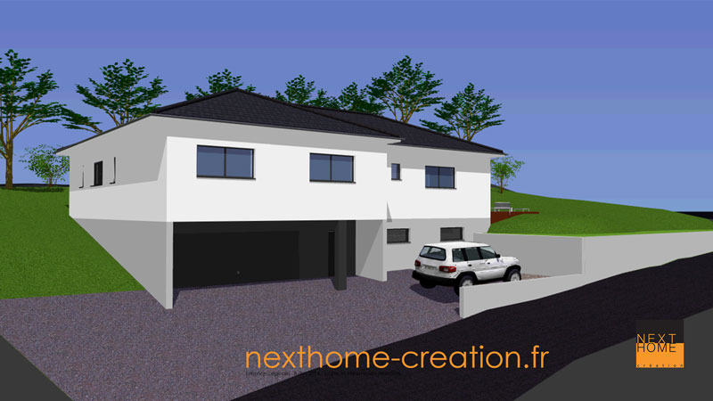 Maison plain pied avec toit 4 pans et garage sous sol for Garage toyota haut rhin