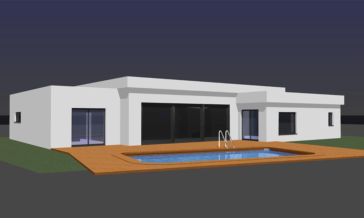 Maison plain pied toit plat cheap garage toit plat plan for Maison moderne toit plat plain pied