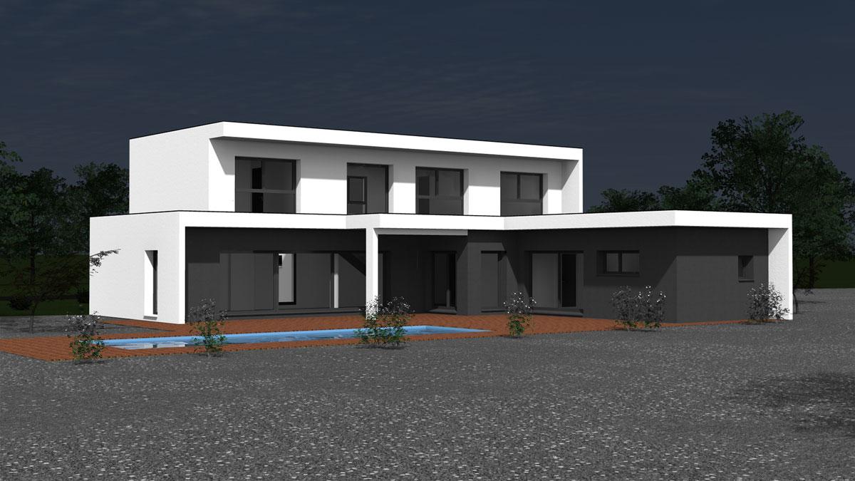 Maison Contemporaine Toit Plat Garage Accole Nexthome Creation