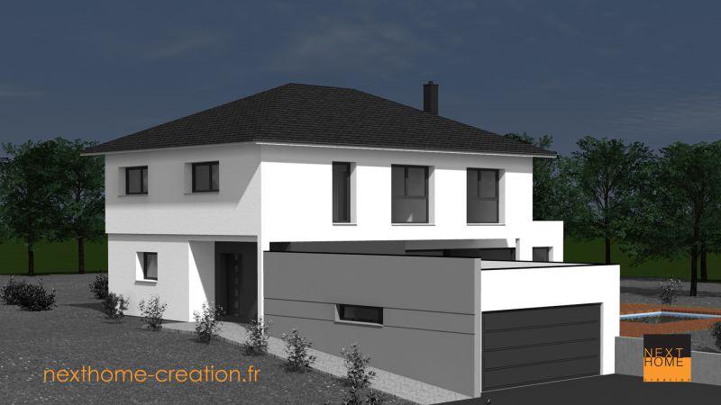 Maison avec toit 4 pans et toit plat nexthome for Maison cubique toit 4 pans