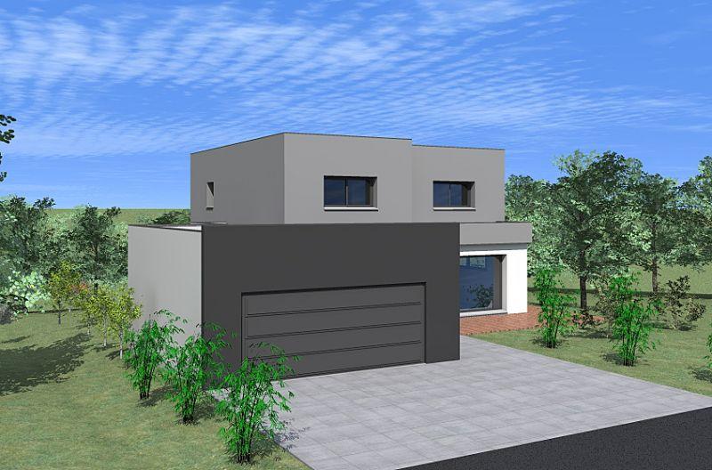 Maison contemporaine toit plat et garage accol en alsace nexthome cr ation for Maison toit plat alsace