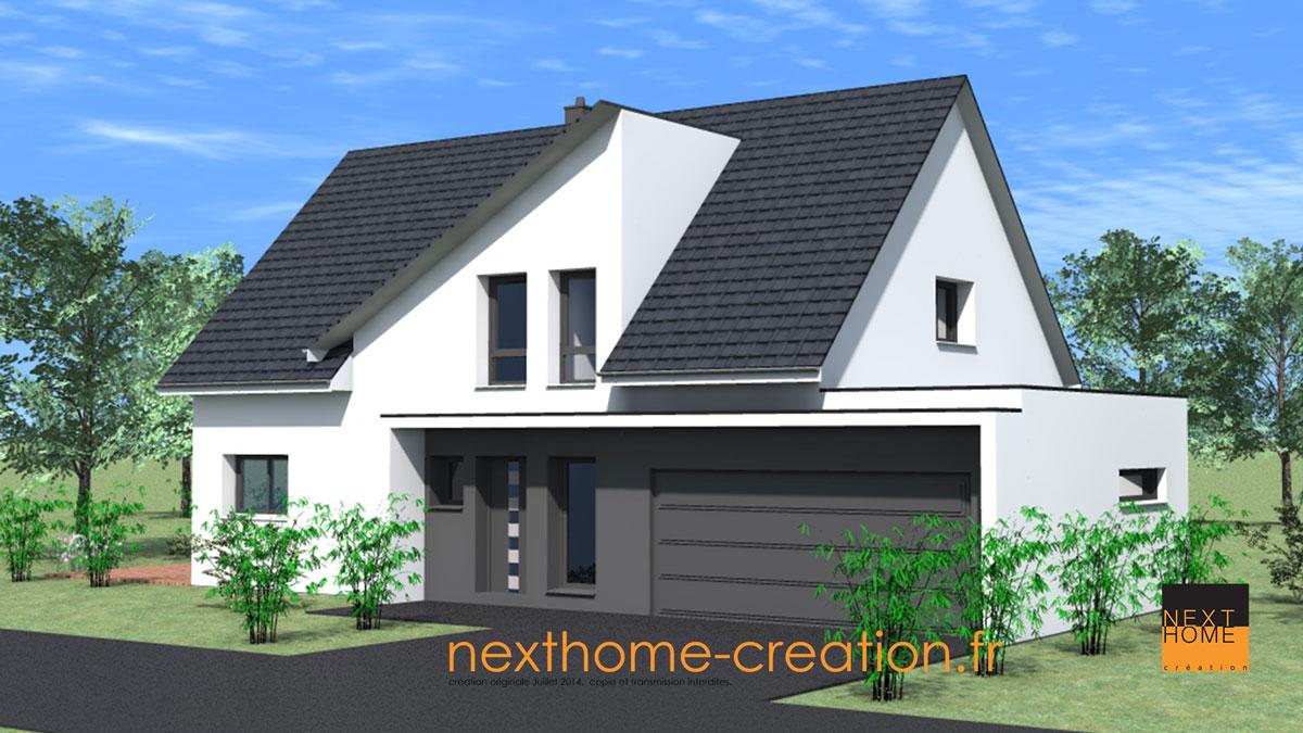 maison contemporaine et atypique toit 2 pans nexthome cr ation. Black Bedroom Furniture Sets. Home Design Ideas