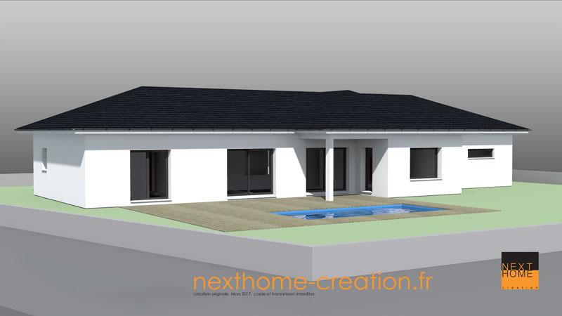 Maison plain pied toit 4 pans moderne nexthome cr ation - Maison plain pied toit monopente ...