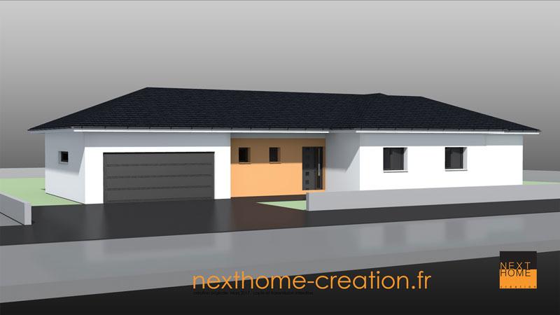 Maison plain pied toit 4 pans moderne nexthome cr ation for Maison moderne 4 pans