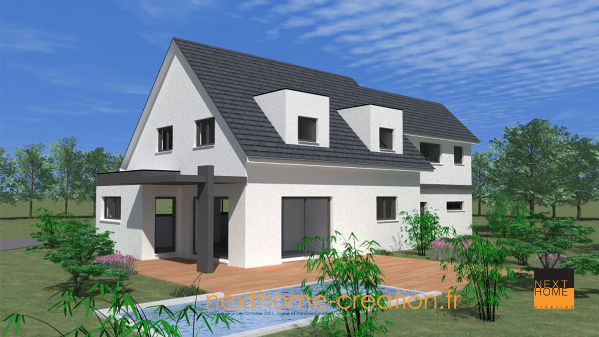 Maison moderne 2 pans et garage accol nexthome cr ation for Maison moderne toit 2 pans