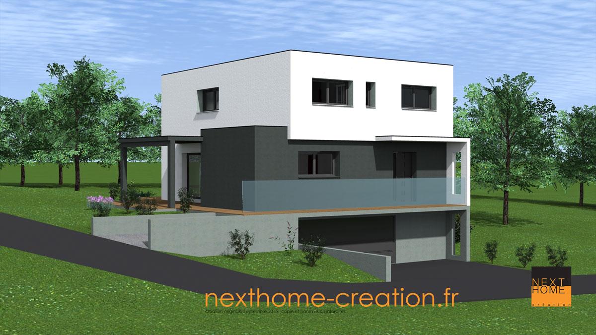 Maison toit plat garage sous sol nexthome cr ation for Maison toit plat alsace