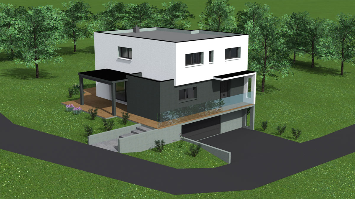 Maison toit plat garage sous-sol - Nexthome Création