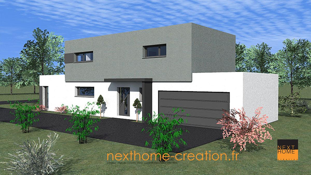 Maison garage accol et toit plat contemporaine nexthome cr ation for Maison toit plat alsace