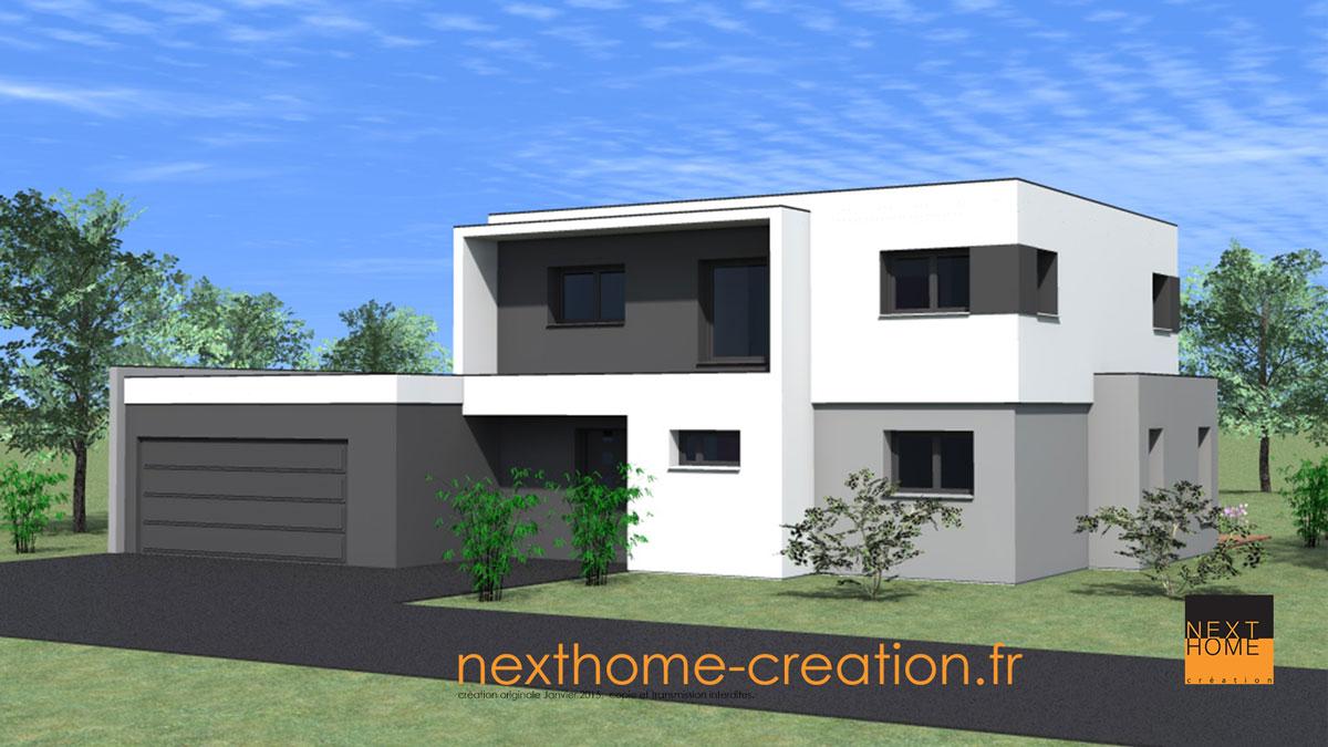 Maison toit plat contemporaine nexthome cr ation for Maison toit plat alsace