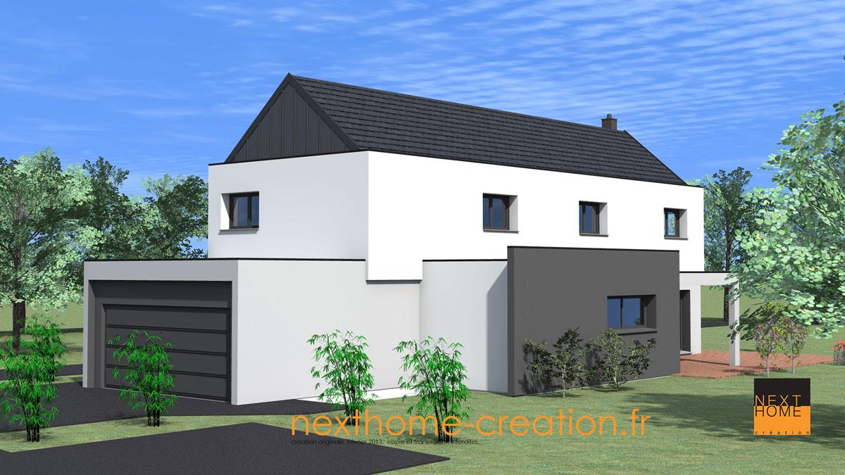 Maison d 39 architecte toiture 2 pans et garage accol for Garage 2 pans