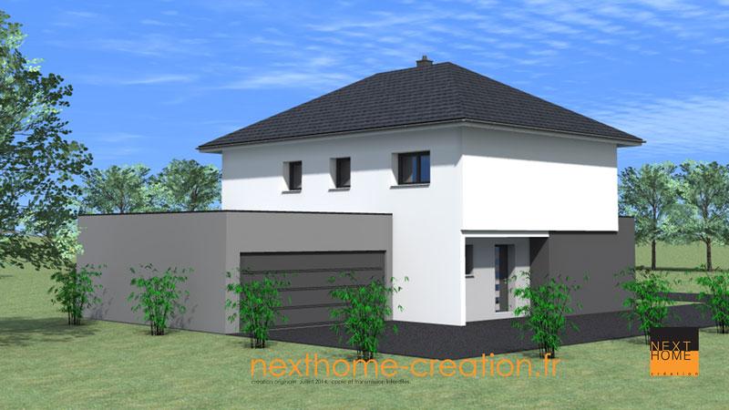 Maison moderne avec toit 4 pans nexthome cr ation for Maison moderne toit 2 pans