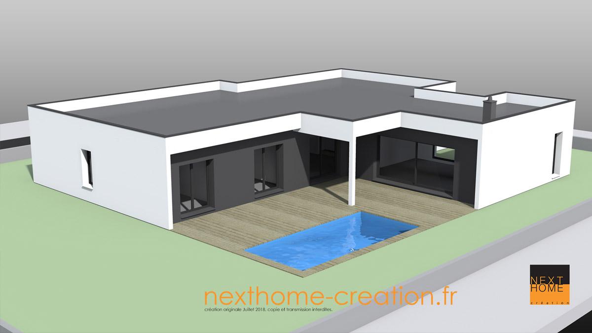 Maison Moderne Plain Pied A Toit Plat Nexthome Creation