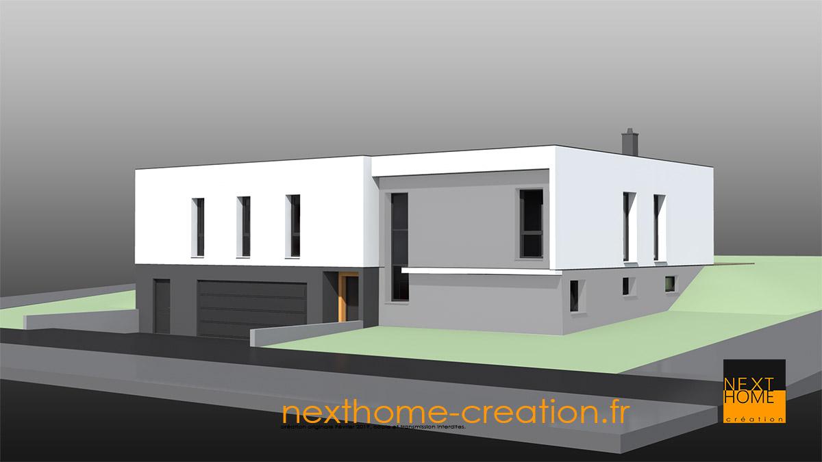Maison Moderne Plain Pied à Toit Plat Avec Garage Au Sous
