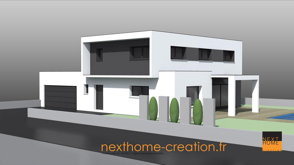 Quelque chose de nouveau assez Maison moderne et design à toit plat - Nexthome Création @NY_57