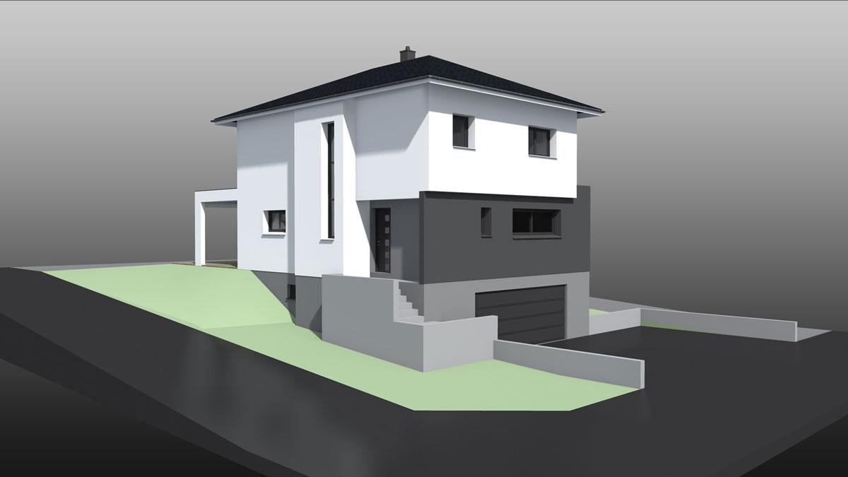 Maison 9 pans avec garage sous-sol - Nexthome Création
