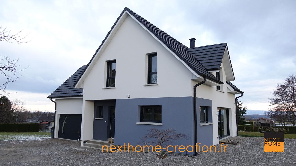 Maison moderne toiture 2 pans Haut-Rhin 68 - Nexthome Création