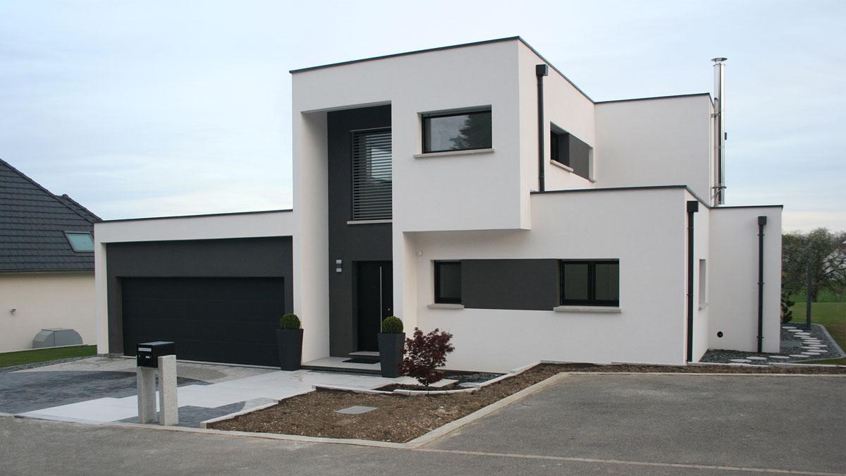 Facade moderne garage toit plat for Realisation maison contemporaine